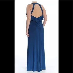 Formal Dress Size 14 Blue NEW Ruffled Open Back